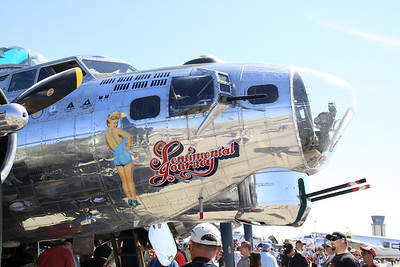 "Right Side nose art on the B-17G ""Sentimental Journey"" during static display at the 2014 Planes of Fame airshow at Chino, CA."
