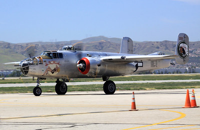 "The B-25J ""In the Mood"" taxies along the ramp at the 2014 Planes of Fame airshow in Chino, CA."