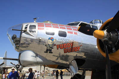 "Nose art on the left side of the B-17G ""Fuddy Duddy"" during static display at the 2014 Planes of Fame airshow in Chino, CA."