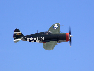 A razor back P-47D flies past the crowd at the 2014 Planes of Fame airshow in Chino, CA.