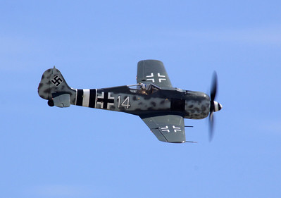 A FW-190A fighter flies over the 2014 Planes of Fame airshow in Chino, CA.