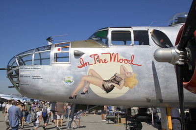 "Left side nose art on the B-25J ""In the Mood"" during static display at the 2014 Planes of Fame airshow at Chino, CA."