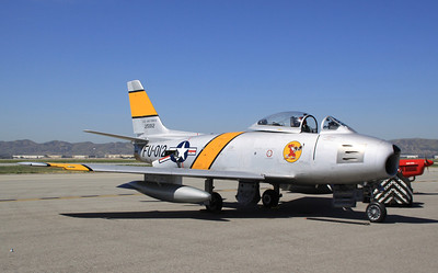 An F-86 fighter jet on display at the 2014 Planes of Fame airshow in Chino, CA.