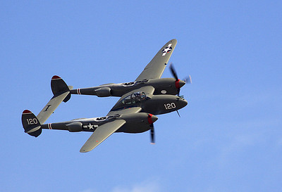 "The ""Thoughts of Midnight"" P-38 making a flyby."