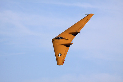The Northrop N-9M flying wing makes another pass.