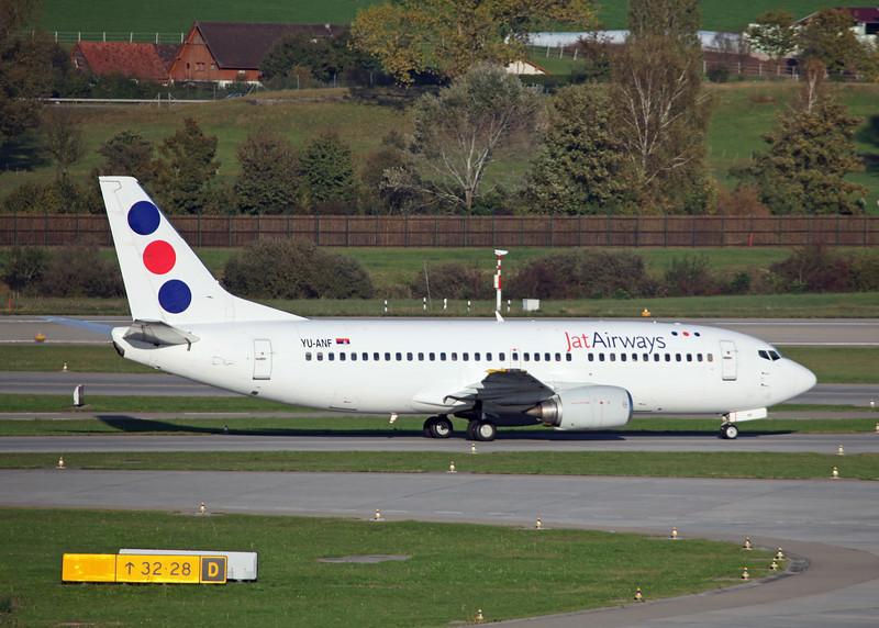 YU-ANF Boeing B737-3H9 (Zurich) JAT Airways