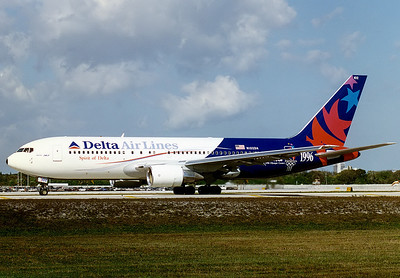 Delta Air Lines Boeing 767-232 Fort Lauderdale - Hollywood International (FLL / KFLL) USA - Florida, January 27, 1996   Reg: N102DA Cn: 22214/12 The 'Spirit of Delta' in the 1996 Atlanta Olympic Games colourscheme.