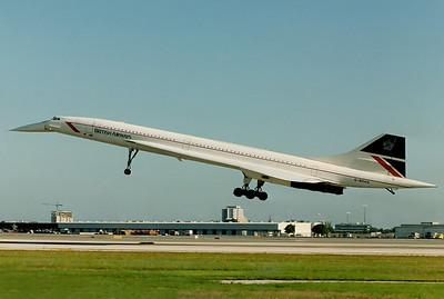 British Airways Aerospatiale-British Aerospace Concorde 102 Miami - International (MIA / KMIA) USA - Florida, April 1989   Reg: G-BOAG Cn: 214 Speedbird Concorde coming into Miami, those were great times.