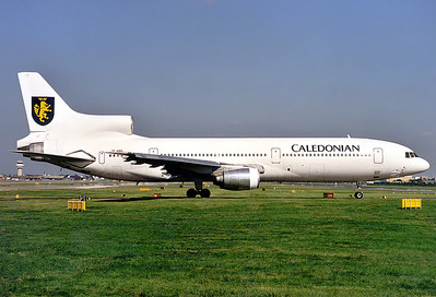 Caledonian Airways (Air Atlanta Icelandic) Lockheed L-1011-385-1-15 TriStar 100  	London - Gatwick (LGW / EGKK) UK - England, August 20, 1999 Reg: TF-ABD  Cn: 193B-1221 This nice TriStar was on lease from Air Atlanta for the summer season 1999.