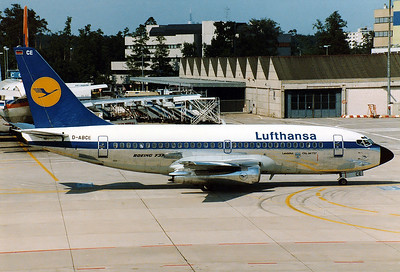 """Lufthansa Boeing 737-230C  REG: D-ABCE MSN: 20254  Frankfurt am Main (Rhein-Main AB) (FRA / EDDF) Germany - June 10, 1982  Hijacked in 1977 on a flight from PMI to FRA, diverted to FCO-LCA-BAH-DXB-ADE (damage to gear and engines during emergency landing in sand and dirt. The Captain was killed by terrorists)-MGQ, Freed by GSG9 and Somali military. Repaired and returned to service. Sold in 1984. In September 2017 the B737, named """"Landshut"""", was flown to FDH in an AN124 to be displayed in the Dornier Museum after restauration."""