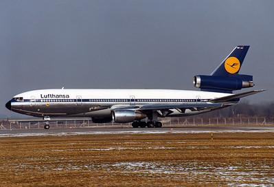 Lufthansa McDonnell Douglas DC-10-30  Munich - Riem (MUC / EDDM) (closed) Germany, February 15, 1981  D-ADKO (cn 47929/196) Lined up on Rwy 25.