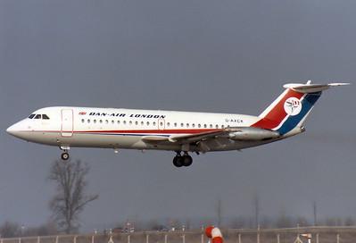 Dan-Air London  BAC 111-401AK One-Eleven  MSN: 090 Reg.: G-AXCK   Munich - Riem (MUC / EDDM)  Germany  February 15, 1981