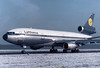 Lufthansa  McDonnell Douglas DC-10-30 MSN: 47921 Line No.: 117 Reg.: D-ADAO   Nuremberg (NUE / EDDN)  Germany  January 1976  'Düsseldorf' passing gate three during one of the common training flights at that time.