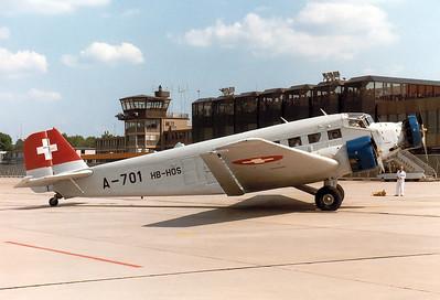 Ju-Air   Junkers Ju-52  MSN: 6580 Reg.: HB-HOS Code: A-701  Nuremberg (NUE / EDDN)  Germany  May 25, 1985