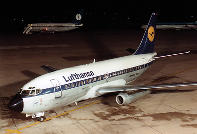 Lufthansa Boeing 737-230C  D-ABCE MSN: 20254  Nuremberg (NUE / EDDN) Germany - October 30, 1984  Germany  The former 'Landshut' on a diversion flight from Munich due to fog, Please note also the Sabena 737 and KLM DC-9 on the northern side of the apron. (Canon AE-1)