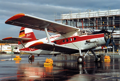 Interflug Antonov (PZL-Mielec) An-2T  	Nuremberg (NUE / EDDN) Germany, August 1990 Reg: DDR-SKY  Cn: 1G86-49 Shortly before the reunification of Germany.