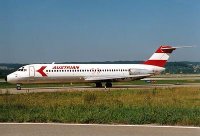 McDonnell Douglas DC-9-32 Austrian Airlines REG: OE-LDG  Zurich (-Kloten) (ZRH / LSZH) Switzerland August 6, 1988