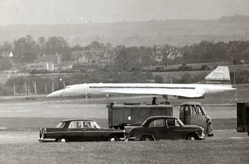 Concord moving up to the take off runway to take its first ever flight off British soil at Filton  Bristol.