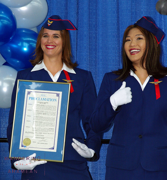 Continental had a few flight attendants in the retro uniforms as part of the celebration