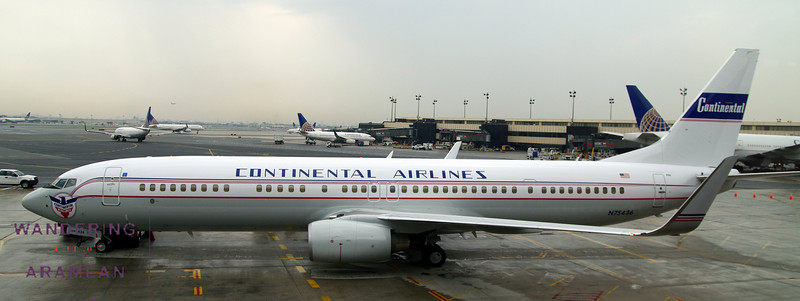 The retrojet on display at Newark Airport