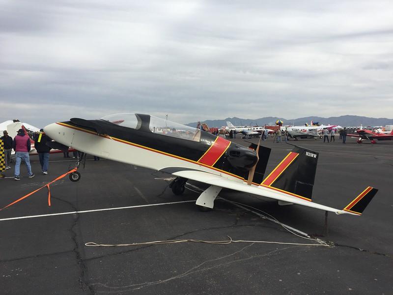 One of Burt Rutan's first designs, the Vari-Viggen. Interesting way to park and tie down.