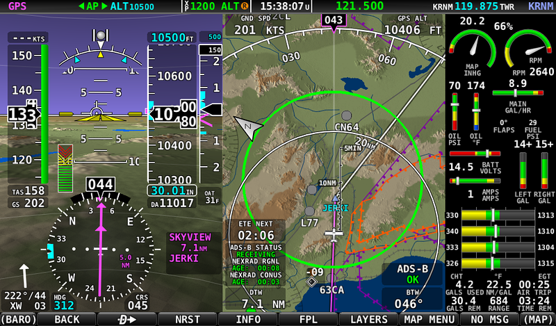 """I've officially joined the 200 Knot club. Look at the GND SPD. I hit 202! This is of course only possible with a really strong 44 Knot direct tailwind, but it is in level flight with """"Otto"""" the pilot at the controls. The green circle on the map is my """"glide ring"""", you can see how skewed it is towards the North East. At one point I saw a 48 knot tailwind. It was actually quite smooth all the way out to Buckeye, AZ."""