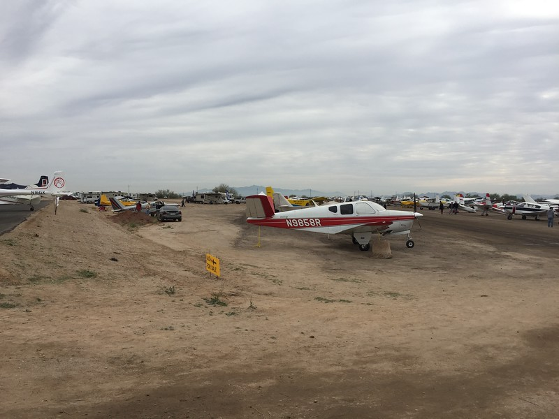 They parked lots of planes at the show down this abandoned dirt runway.