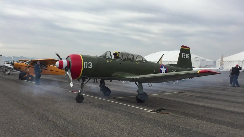 Nanchang CJ-6 starting up to go do some formation flying.