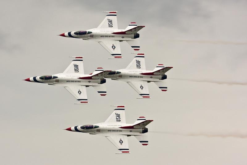 The Thunderbirds in diamond formation.