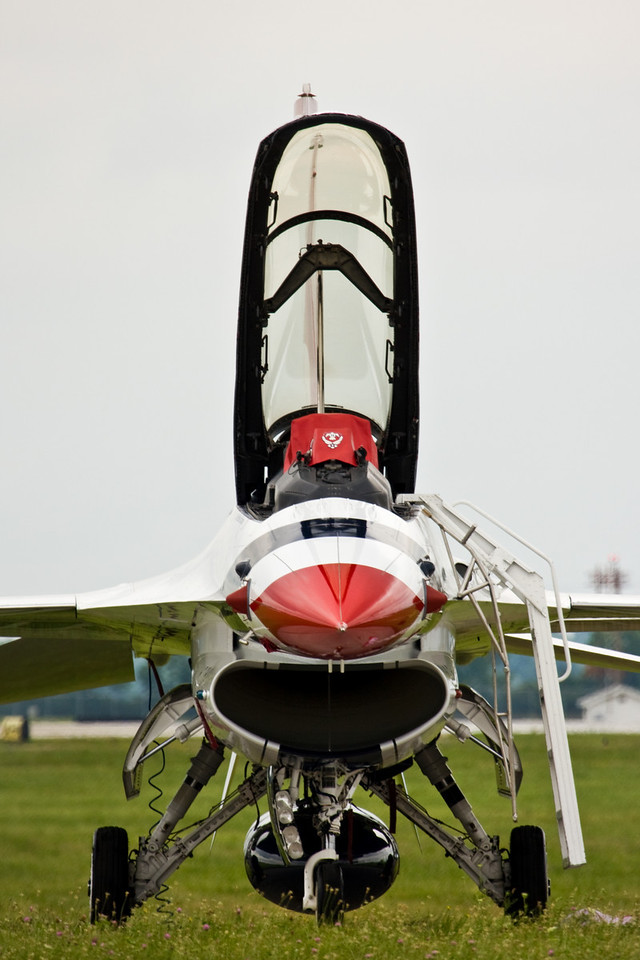 The USAF Thunderbirds were created in 1953 as the 3600th Air Demonstration Unit at Luke Air Force Base.  Originally piloting F-84G Thunderjets, the Thunderbirds now fly the F-16C and D.  Just this year (2009) they transitioned to Block 52 variants giving the team more advanced avionics and 3600 lbs of additional thrust.