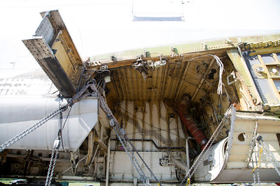 Upper left: The structural beam that held the wing.