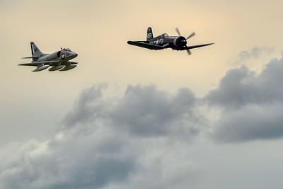 Douglas A-4B Skyhawk & Vought F4U-5N Corsair - Northern Illinois Air Show - Waukegan, Illinois - Photo Taken: September 8, 2018