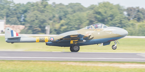 British DeHavilland Vampire with a Goblin engine.  The first operational jet fighter in the RAF