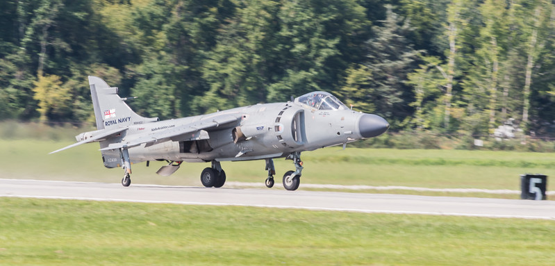Royal Navy Sea Harrier rolling for take off on Runway 14 - 32