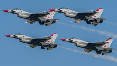 "T-birds in close formation.  #2, #3, #4 are flying ""paint"" on Boss, #1"