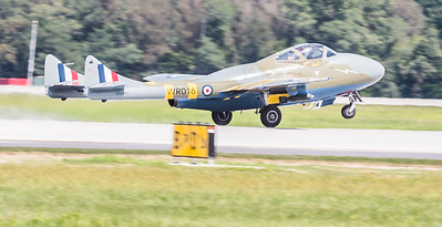 British DeHavilland Vampire with a Goblin engine on take off roll
