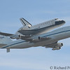 Endeavour strapped atop NASA's 747 flys over Marin Headlands on its  Bay Area flyover.