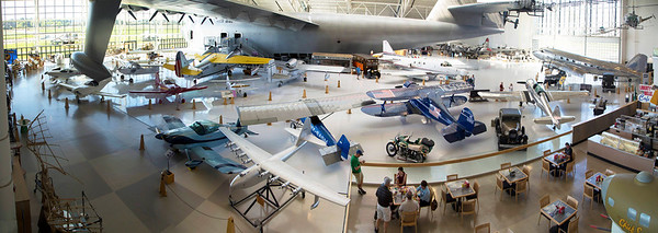 Inside the Museum, the Spruce Goose dominates a large collection of airplanes.
