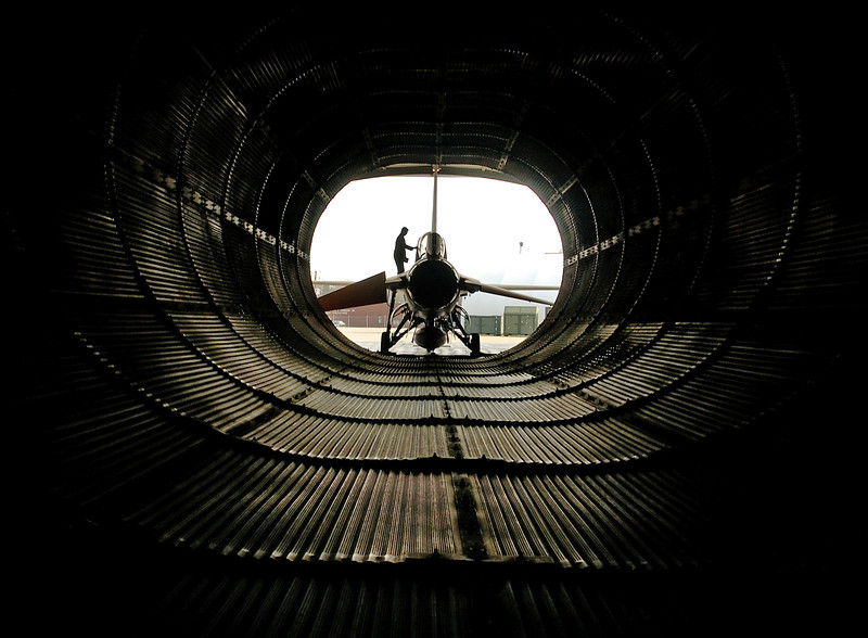 TSgt Paul Holloway, a maintainer assigned to the 192 Aircraft Maintenance Squadron, prepares an F-16 for engine run at the Virginia Air National Guard located at Sandstone, Virginia March 31, 2006.  The Virginia Air National Guard is currently transitioning to the new F-22A Raptor at Langley Air Force Base and will replace the F-16s as early as October 2007. (U.S. Air Force Photo by TSgt Ben Bloker)