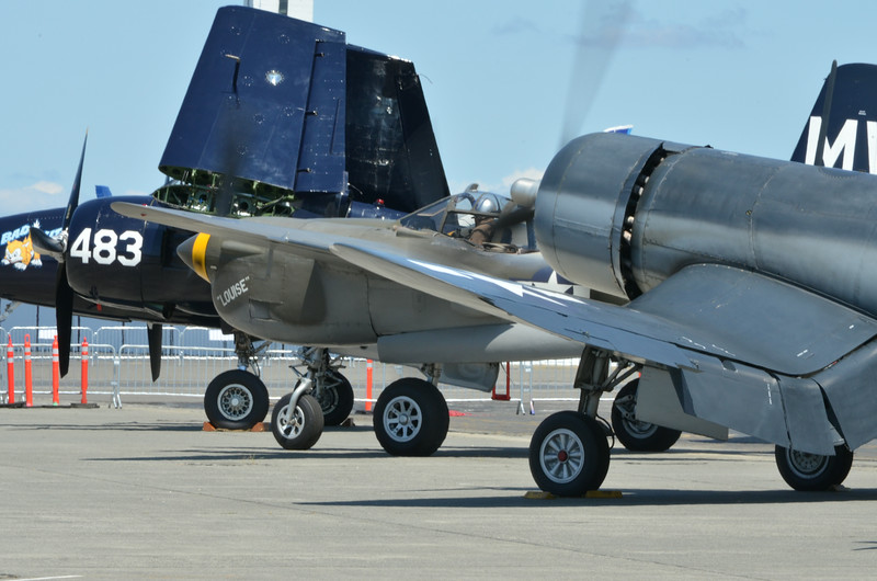 Grumman F7F-3 Tigercat, Lockheed P-38J Lighning, and Vought F4U-1A Corsair