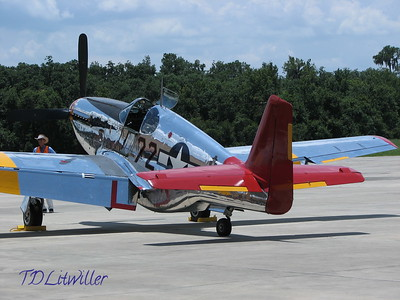 "Kermit Weeks' P-51 C Mustang in the markings of Tuskegee ace Col. Lee Archer's ""Ina the Macon Belle"""