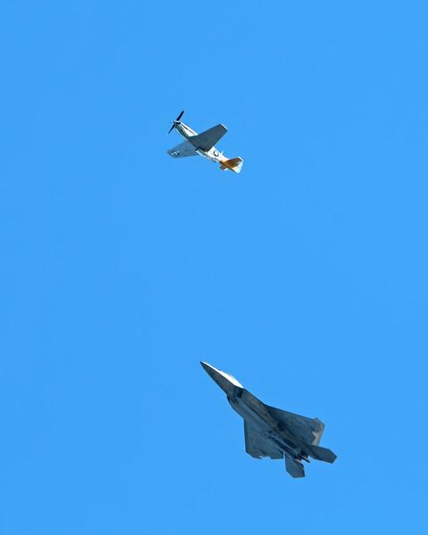 Vintage and current warplanes