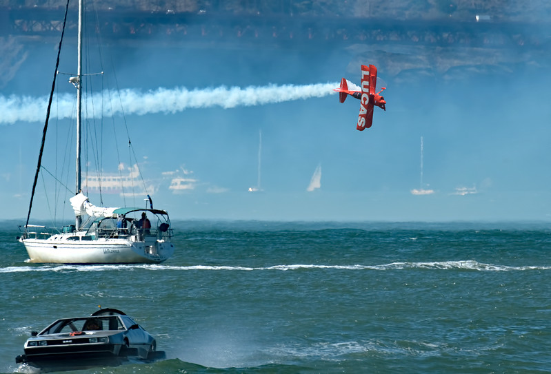 The Lucas and Oracle stunt planes performed shortly before the Blue Angels arrived.