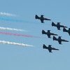 The Patriots are famous for their black planes and rainbow smoke trails.
