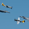 A composite of 2 generations of military aircraft.  They did a tandem fly-by in both directions before exiting.