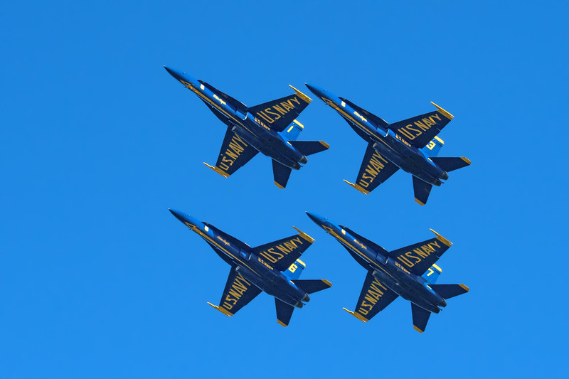 The weather forecast for Fleet Week 2017 was great.  Penny and I went to Cavallo Point near Sausalito to watch the Blue Angels practice late on a Thursday afternoon.  It was a beautiful spot, but except for a few passes, we were far away from the action.