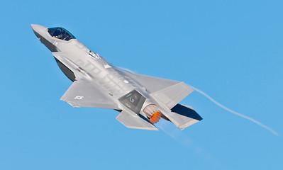 USAF F-35 from Luke AFB, AZ in a high alpha maneuver