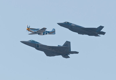 Heritage flight with the P-51 Mustang, F-22 and F-35