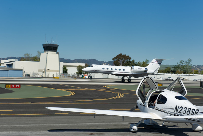 Private Jet Just Touching Down at Santa Monica