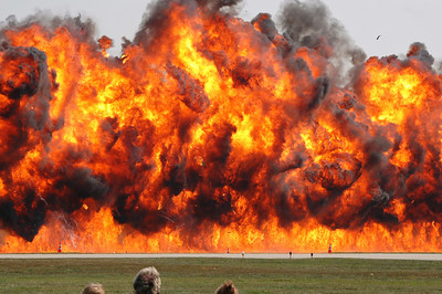 """""""The Wall of Fire, a simulated bombing by the B-17 bomber.  The heat radiating from this explosion was incredible."""